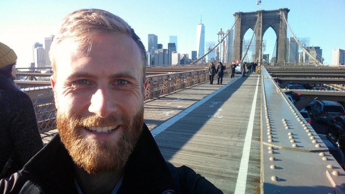 On the Brooklyn Bridge. A great view of the City Scape
