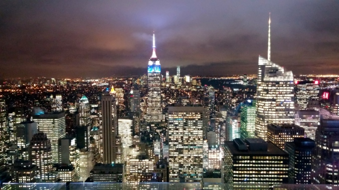 Top of the Rockefeller Centre at night