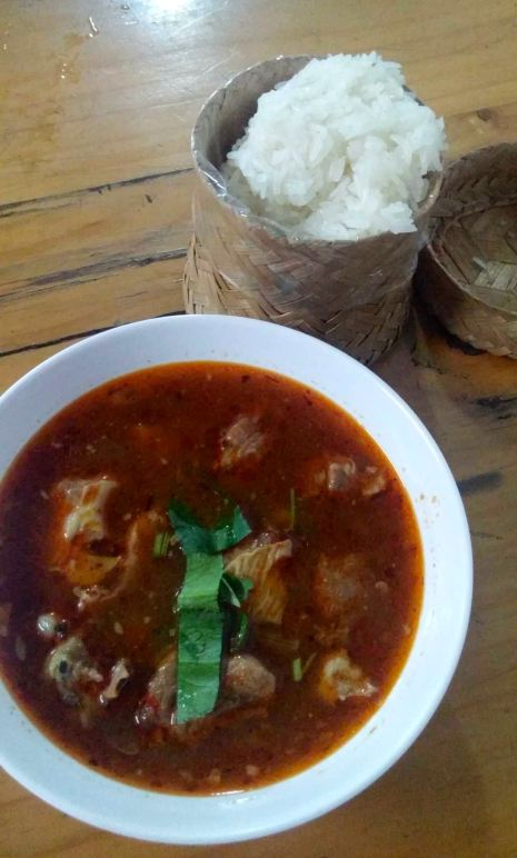 Gang Om. Lightly spiced curry with beautifully tender meat. Served with sticky rice.