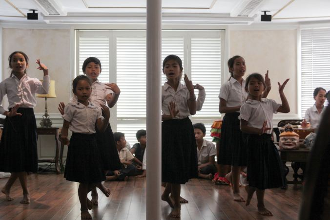 Girls singing traditional Khmer songs