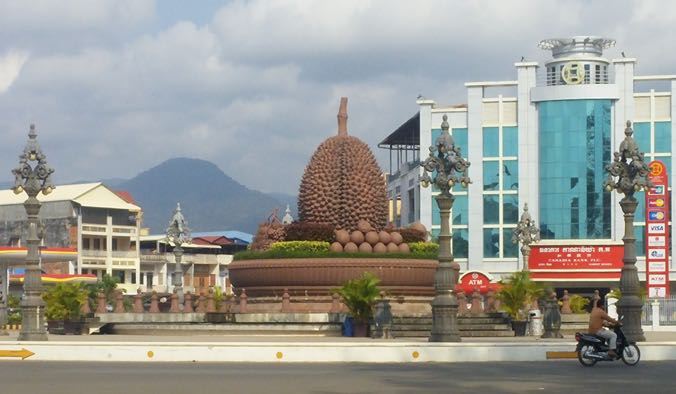 Kampot's Durian roundabout, with Lychees