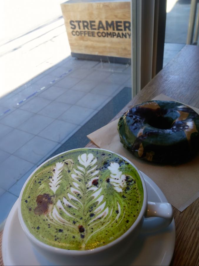 Military Latte (white chocolate, green tea, coffee) and Donut at Streamers