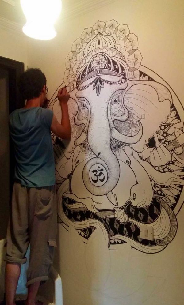Someone in a hostel spent two days drawing this on the wall.