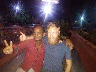 Making friends in Panagal Park, Chenai.