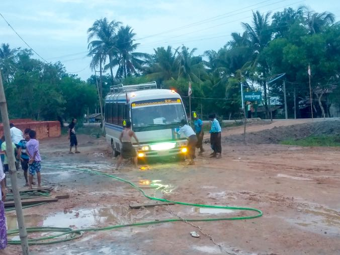 The bus also got stuck at the previous village.