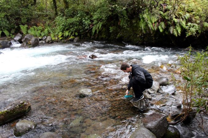 Filling up the water bottle in the river, yay for clean NZ water.